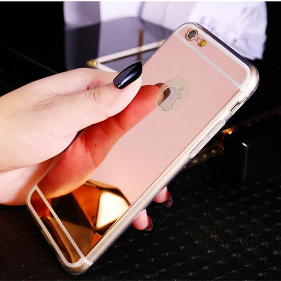 Ultra Slim Gold Spiegel Case Voor iPhone 5 5 s SE Soft TPU Silicon Beschermende Cover Celular Voor iPhone 6 6 s 7 Plus 5 s SE Case