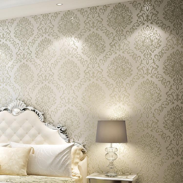 Aliexpress Com Buy Wholesale 3d Wallpaper Rolls Papel De Parede Damascus Gold Creamy White Non Woven Glitter Wallpaper Bedroom 3d Wall Wallpaper From