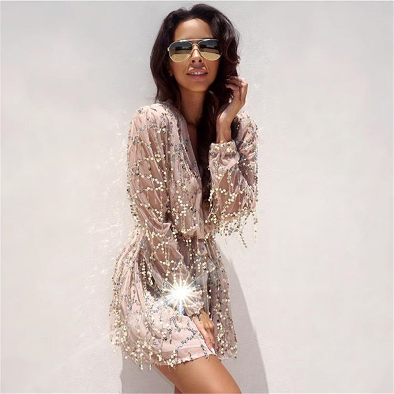 Summer Beach Rompers Womens Jumpsuit Lace Long Sleeve V Neck Tassel Sequin Playsuit Sexy Overalls Women Jumpsuit Club Wear