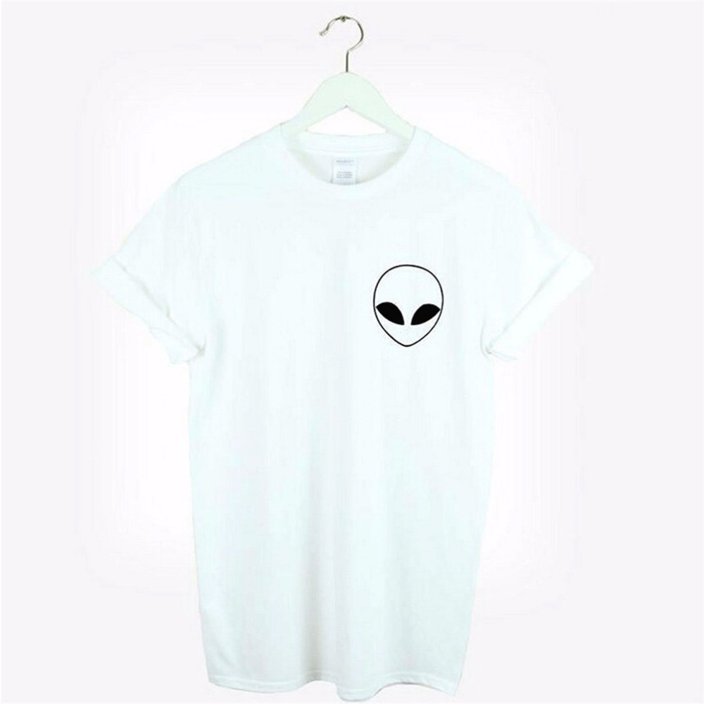 new women t shirt alien print funny casual hipster shirt. Black Bedroom Furniture Sets. Home Design Ideas