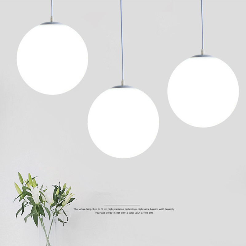 US $17.6 20% OFF|Modern Glass Pendant Lights Globe White Round Hanglamp LED  light Fixtures For Living Room Kitchen Lustre Bar Pendant Lamps-in Pendant  ...