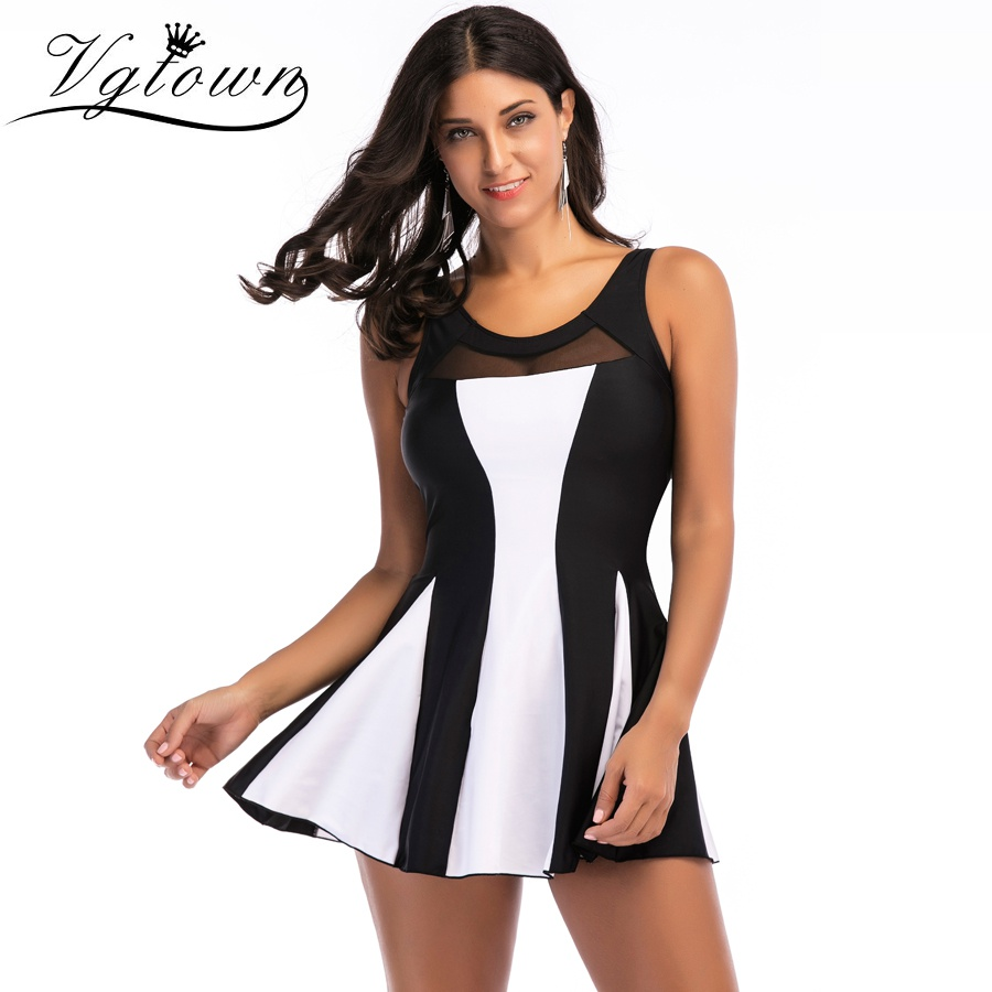 41100cfc95e0c VGTOWN Sexy Swimsuit Women Plus Size Vintage Striped Tankini Set Swimdress  Bandeau Swimwear Bathing Suit Shorts S-5XL