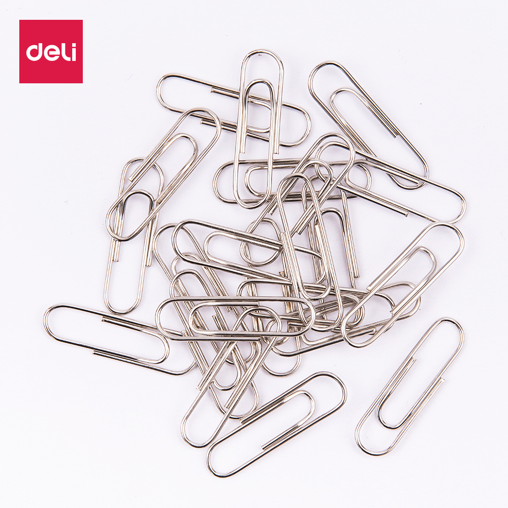 DELI EZ20112 Silver Paper Clip - 100PCS/BAG - 29mm - Nickel Plated - Round Paper Clip