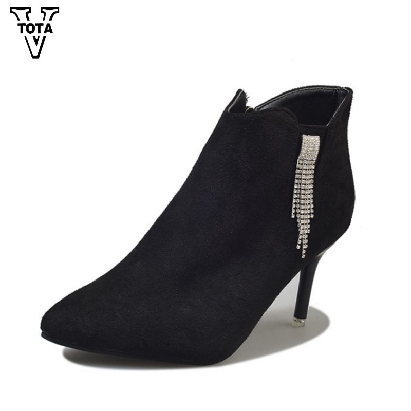 VTOTA Women Boots Winter Women Ankle Boots sexy thin heel Autumn Female Boot 2017 High Heels Rhinestone Zip Botas Mujer QYXC8 cicime women s shoes high thin heel cone heels autumn winter solid female boots