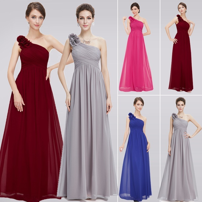 Plus Size Purple Bridesmaid Dresses Long 2020 Elegant Burgundy Chiffon One-shoulder Simple Wedding Party Dresses For Women