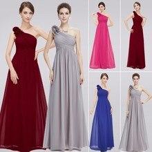 Vestido de dama de honor de talla grande, púrpura, largo, elegante, Borgoña, gasa, un hombro, sencillo, boda, fiesta, 2020