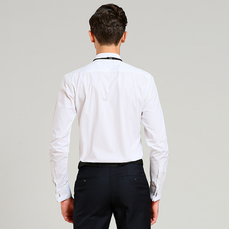 2019 Men Wedding Tuxedo Long Sleeve Dress Shirts French Fold Man Cufflinks Swallowtail Button Tops Gentleman Party Shirt YN10367