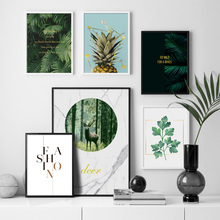 Palm Leaf Forest Deer Pineapple Landscape Wall Art Canvas Painting Nordic Posters And Prints Pictures For Living Room Decor