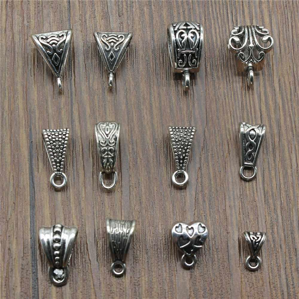 20 pçs/lote Conector Encantos Beads Bail Antigo Cor Prata Beads Bail Achados Encantos Jóias Diy Beads Bail Encantos Conector