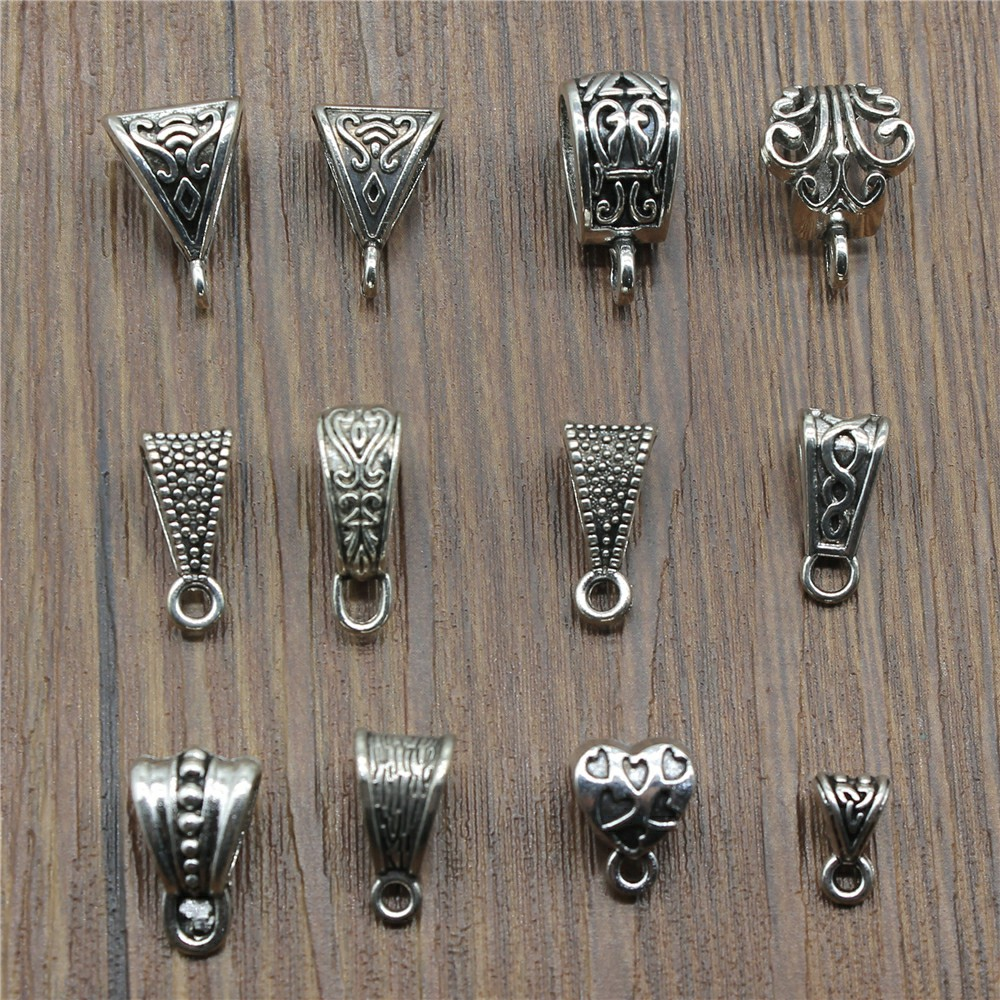 20pcs/Lot Connector Charms Bail Beads Antique Silver Color Bail Beads Charms Jewelry Findings DIY Bail Beads Charms Connector