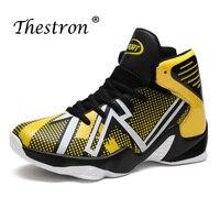 Novo homem sapatos para basquete amarelo vermelho esporte sapatos de basquete masculino alta superior sapatos de treinamento anti-deslizamento dos homens tênis de basquete