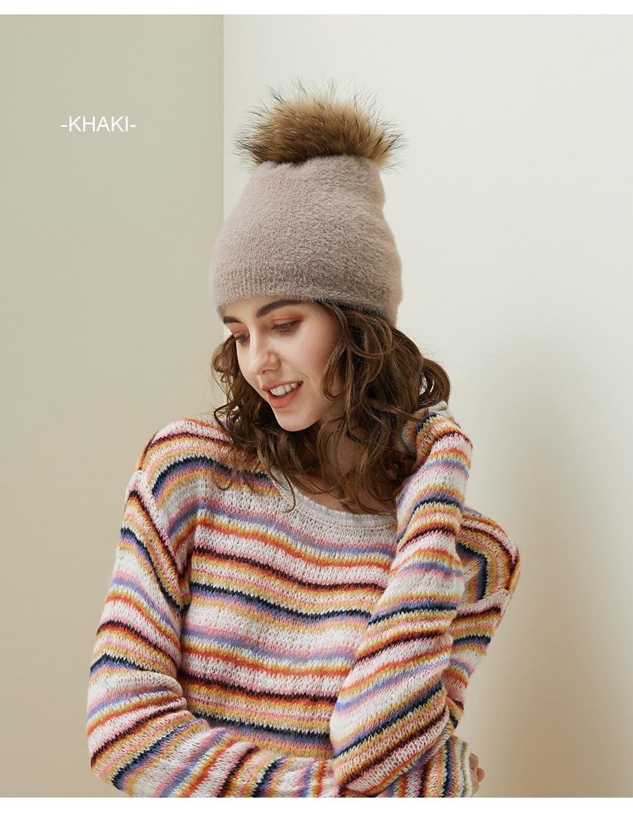 Hat Female Raccoon Hair Ball Beanies Winter Warm Wool Bonnet Pompom Beanies 2018 Fashion Russia Knitted Skullies Cap For Girls (8)