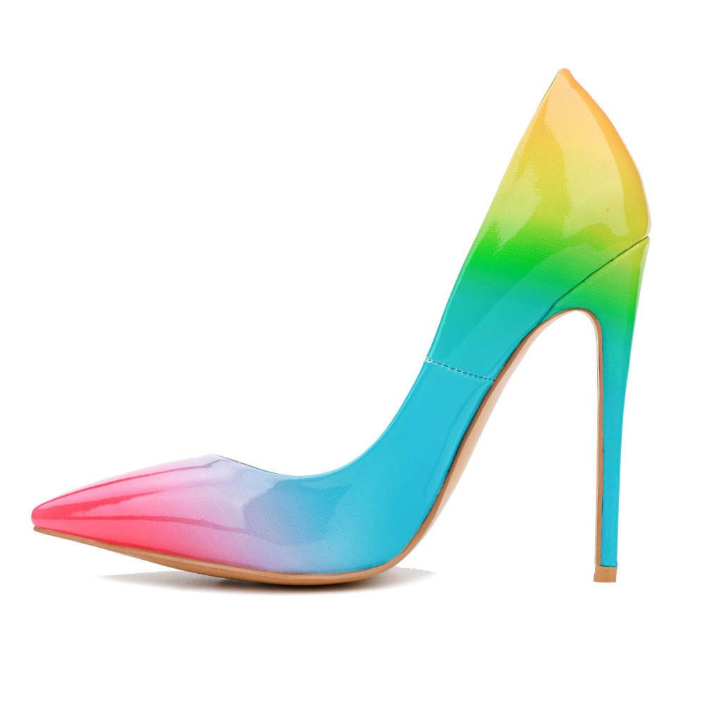 480f53effaa7 YX GIRL Colorful high-heeled shoes with rainbow print with pointed toe and  high heels for Women for Women