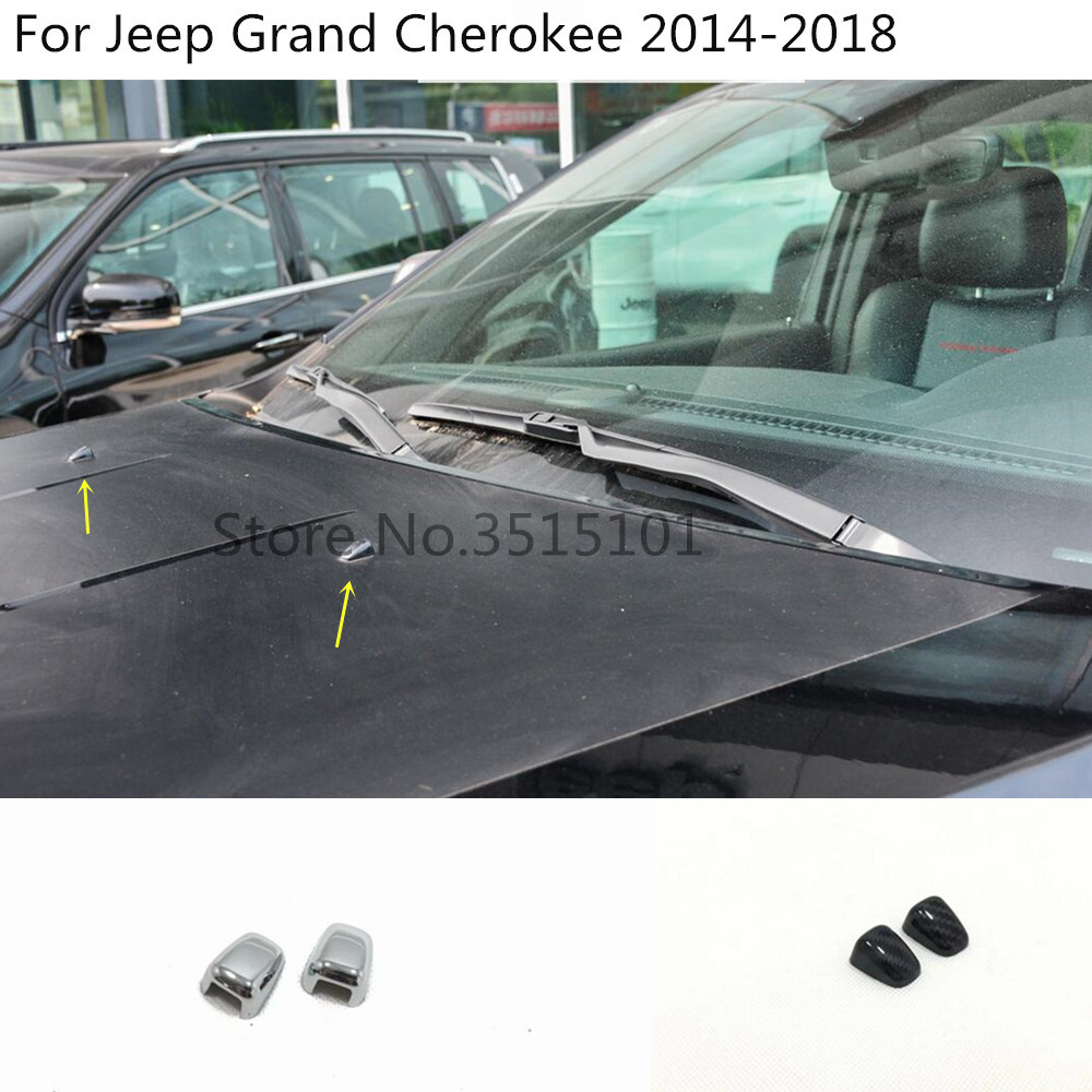 car styling cover head front Machine Water wash outlet stick frame trim 2pcs For Jeep Grand Cherokee 2014 2015 2016 2017 2018 image