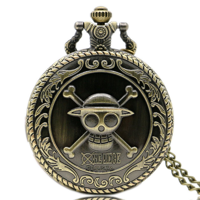 Hot Animation One Piece Cosplay Steampunk 3D Bronze Pocket Watch With Necklace C