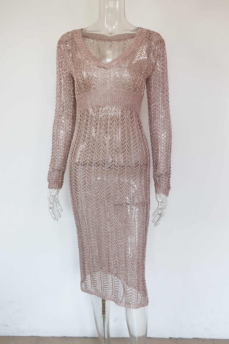 04a1bd8c9 ... Bonnie Forest Long Sleeves V Neck Gold Metallic Large Crochet Maxi  Dress Gown Sheer Metallic Knitted ...