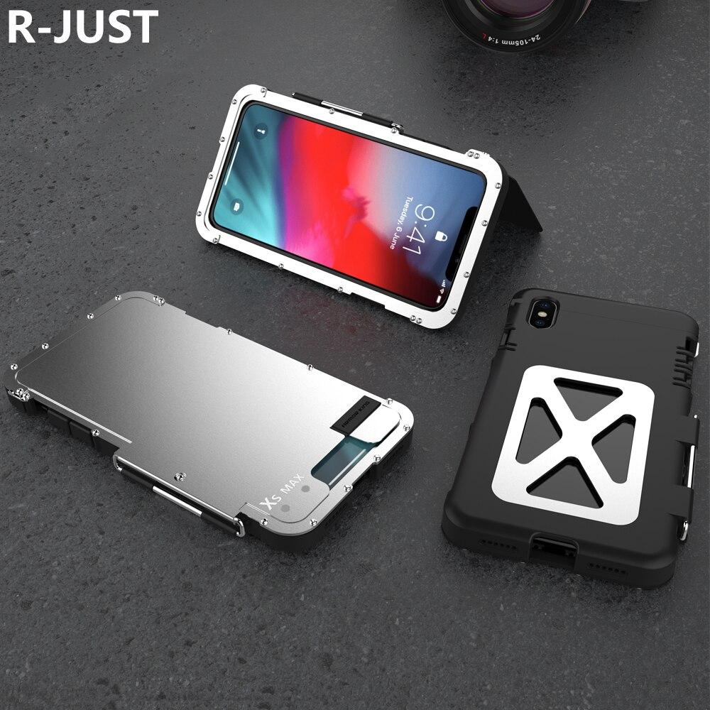 R-JUST pour iPhone XS Max Housse Coque Etui De Luxe En Métal En Plastique Dur Hybride Pleine Couverture Antichoc Étui pour Téléphone Portable étui pour iPhone XR