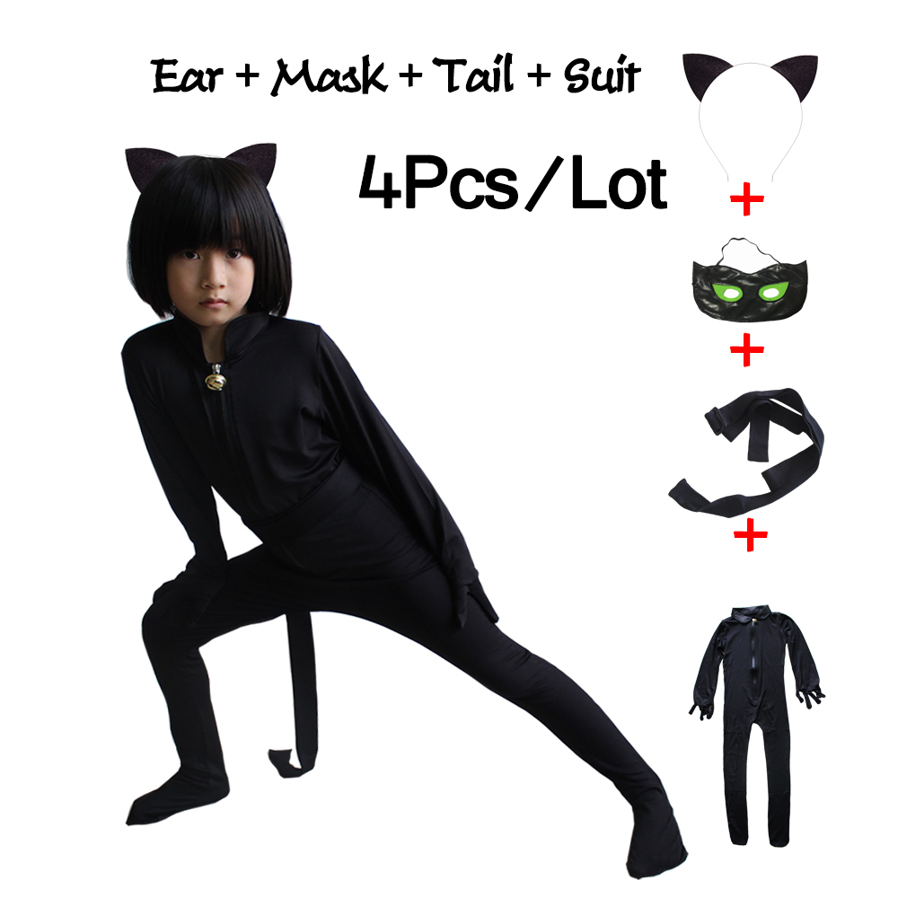 Cat Noir Halloween Christmas Costume Miraculous Ladybug Jumpsuit For Boys Adrien Marinette Cosplay Party Clothes Mask Superman cosplay party cat fox long fur ears neko costume hair clip halloween orecchiette y103