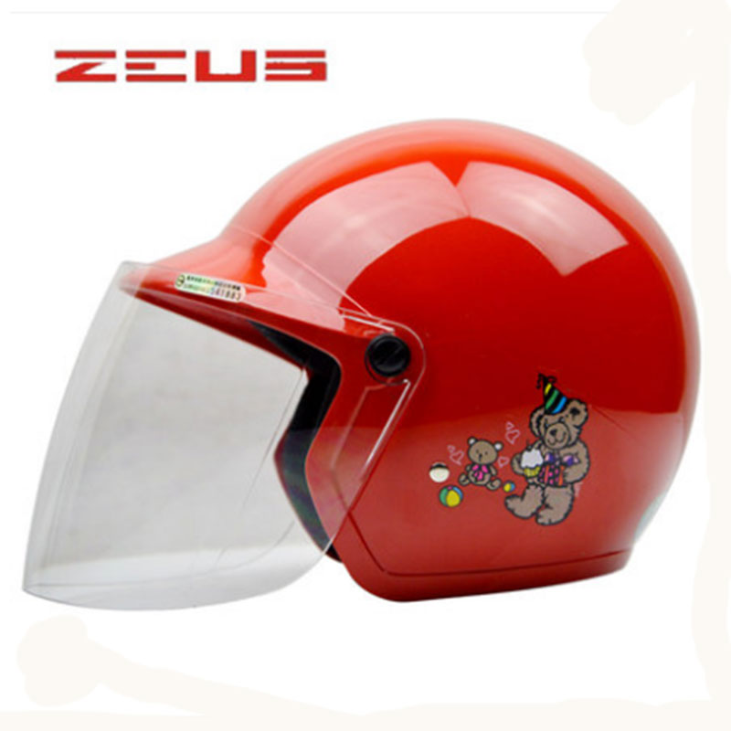 ZEUS 3-12 Years Children Motorcycle Helmet Protective Gear 42-56cm Helmet Easy Clasp Closure Motorbike Kids Bike Helmet Visor