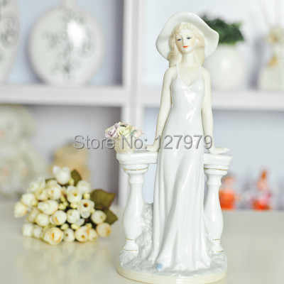 on sale!! Modern home furnishing decoration, ceramic figurine, procelain decoration,Elegant woman~
