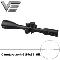 Vector Optics Counterpunch 6 25x56 Mil Dot Reticle 1/4 MOA Adjustment FFP Riflescope 30mm Monotube Hunting Sight for Shooting