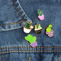 5 stil Cartoon Mode Emaille Pin Metall Brosche Mini Grüne Pflanze Topfpflanzen Kaktus Taste Broschen Denim Jacken Kragen Abzeichen Pins