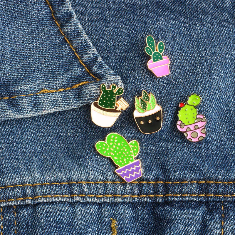 5 Gaya Kartun Fashion Enamel Pin Logam Bros Mini Hijau Tanaman Pot Kaktus Tombol Bros Denim Jaket Kerah Lencana Pin
