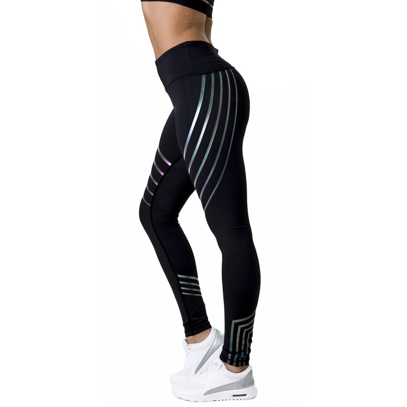 2018 New Women's Fitness Workout   Leggings   High-Waist Polyester Dark Stripe Glowing Strips Ladies' Spring Fashion   Leggings