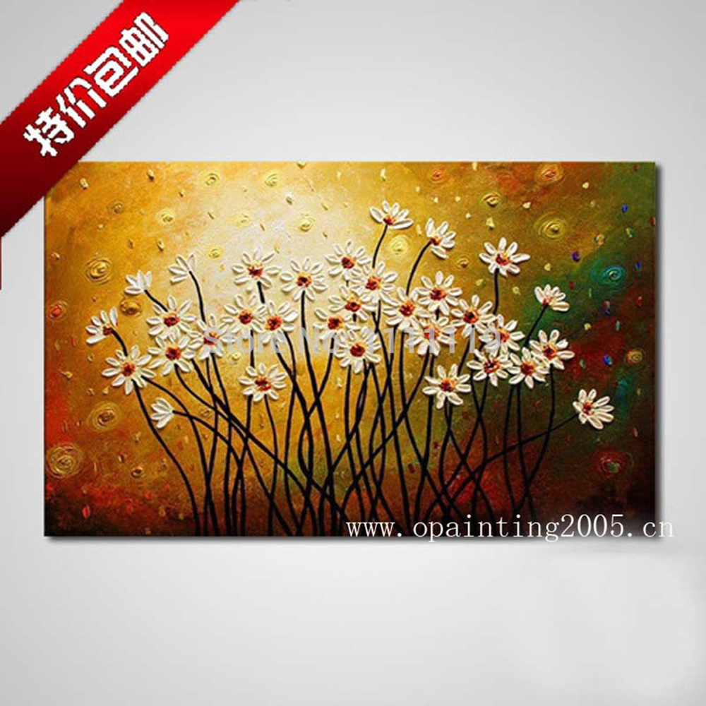 Hand Painted White Flower Oil Painting Knife Paintings Modern ...