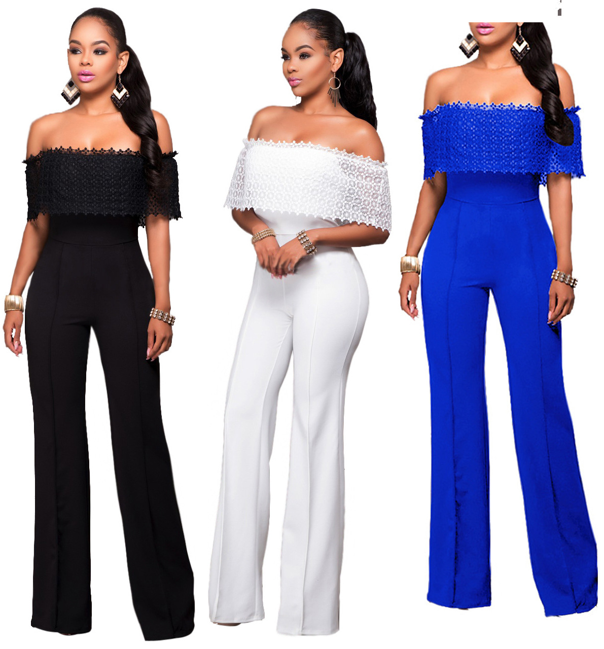 Off Shoulder Women Jumpsuits Sheerness Strapless Sexy Slim Party Bodysiuts Female Casual Loose Palazzo Pants Black Trousers