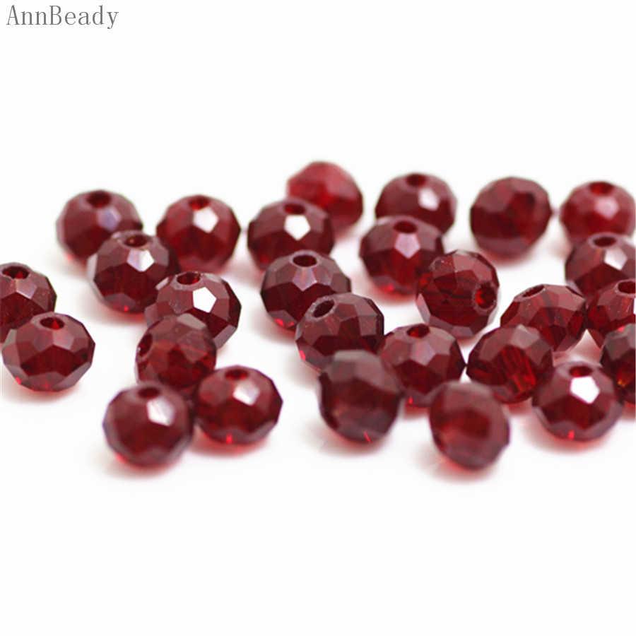 Annbeady cor vermelha escura 4x6mm 50 pces rondelle áustria facetado grânulos de vidro de cristal espaçador solto para fazer jóias