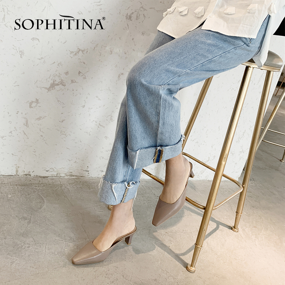 SOPHITINA High Quality Sheepskin Slippers Comfortable High Square Heel Shallow Shoes Hot Sale Large Size Women