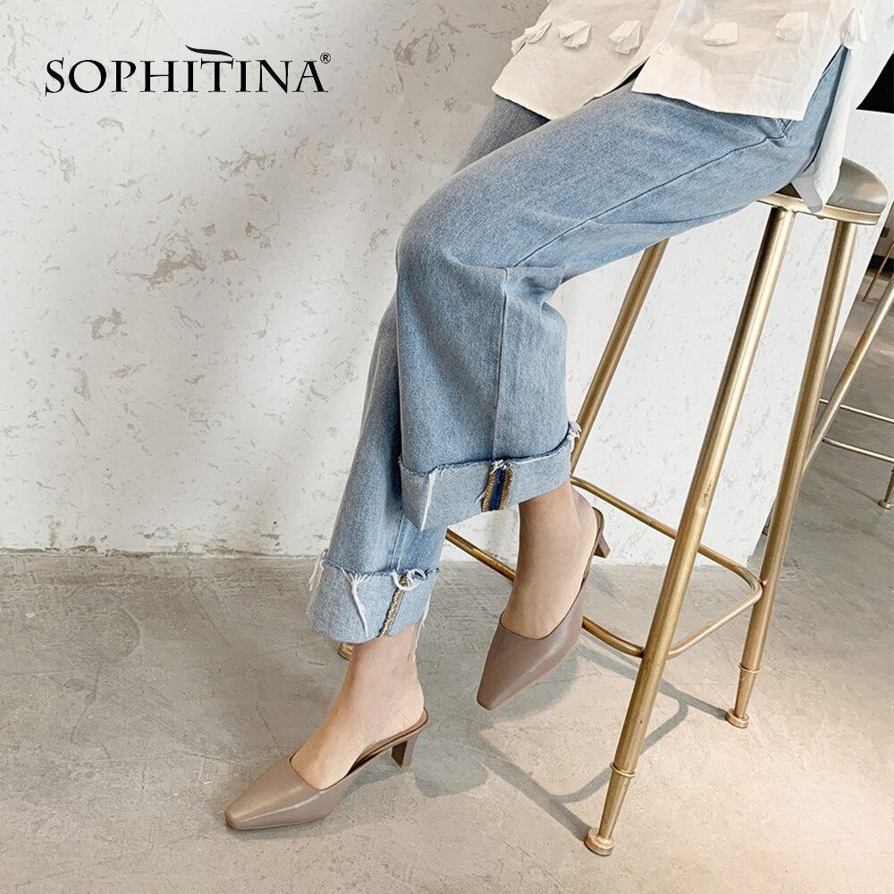 SOPHITINA zapatillas de piel de oveja de alta calidad cómodos zapatos bajos de tacón alto cuadrado Venta caliente zapatillas de mujer de tamaño grande MO20-in Zapatillas from zapatos    1