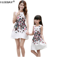 Mother Daughter Dresses Matching Teenage Girl Dress Retro Print Mommy And Me Clothes Sleeveless Dresses Family