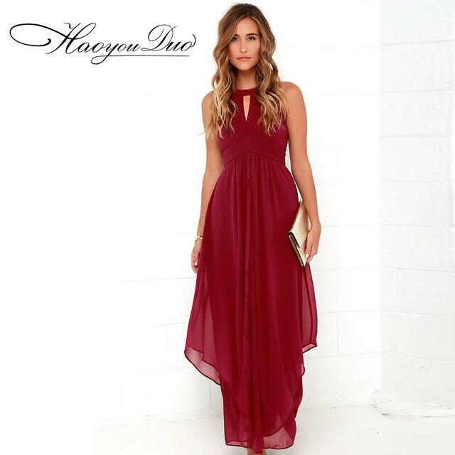 Haoyouduo 2017 бренд высокое качество цвет красного вина платье Свадебная вечеринка платье макси Для женщин длинное платье Лето Hollowout сексуальные Vestidos