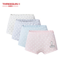 THREEGUN X Tuzki Girls Underwear Children Cartoon Print Briefs Cotton Panties Boxers for Kids Lingerie 4Pcs/Lot