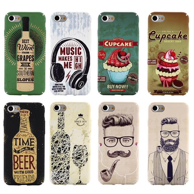 US $2 69 |QALART Vintage Retro Old School Music Beer Wine Liquor Bottle  Gentleman Cupcake Case Cover for iPhone 5 5s SE 6 6s 7 & Plus-in Flip Cases
