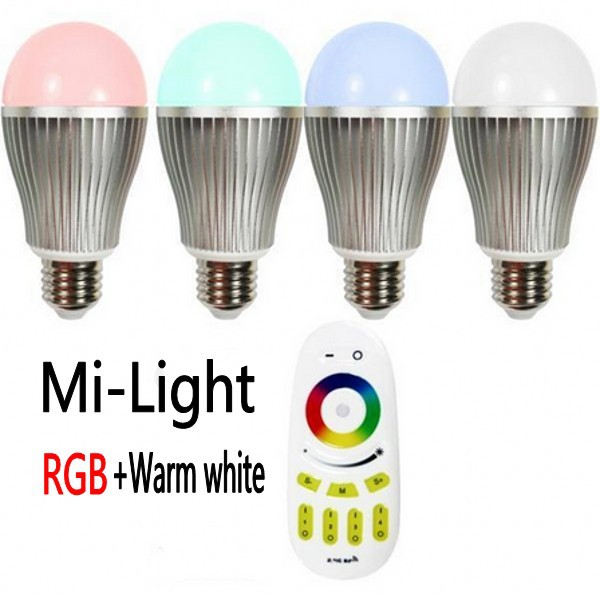 Mi Light 85~265V Dimmable 2.4G RGBW(RGB+Warm White) LED E27 9W wifi LED Bulb Lamp dimmable Remote Control Brightness Adjustable original xiaomi mi yeelight e27 8w white led smart light bulb smartphone app wifi control 220v