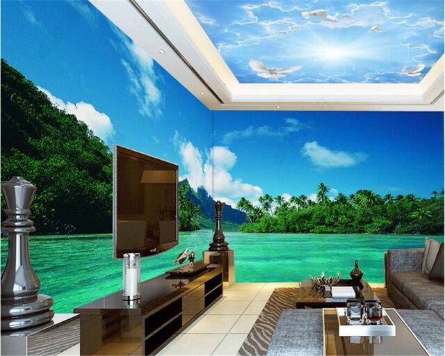 Behang Prints Opvallend : Beibehang groen opvallende behang bos eiland panorama full frame