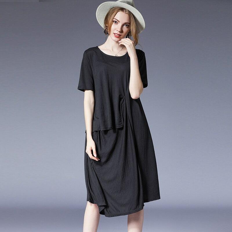 Femme travail partie noir coton lin été robes de grande taille 2018 bureau dame lâche gris mignon élégant Vintage robe de plage