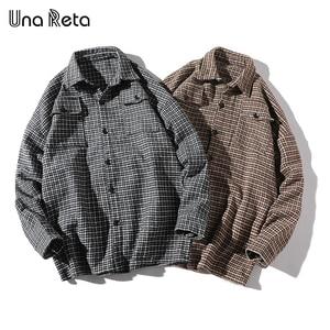 Image 4 - Una Reta Men Shirt Autumn and Spring New Brand Hip Hop Retro Lapel Shirt Men Fashion Streetwear Lattice Single Breasted Shirts