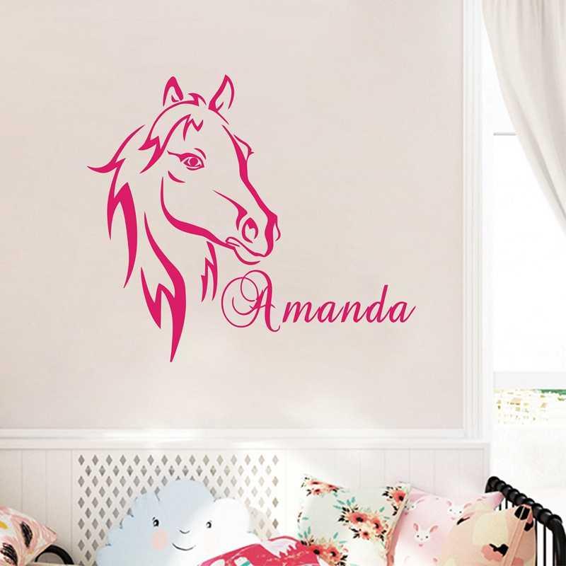 Пользовательские DIY персонализированные имя голова лошади наклейки на стену виниловые настенные художественные наклейки на стену в детскую домашнюю декор для детской комнаты