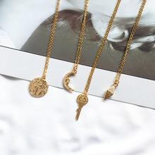RE Vintage Gold Geometric Moon Disc Key Pendant Necklaces for Women Simple Roman Portrait Coin Choker Necklace Chic Jewelry R34