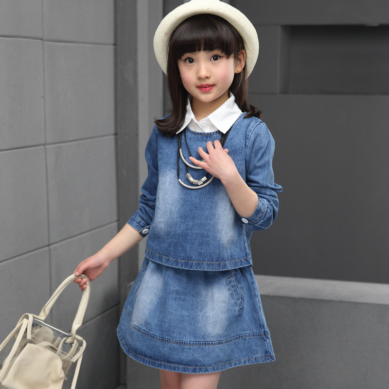 ФОТО Denim Clothing Suits for Girl Clothing Sets Children Solid Vest+Dress Set Casual Infant Autumn Coat+Vestido Suit 2T 4 6 8 10 12Y