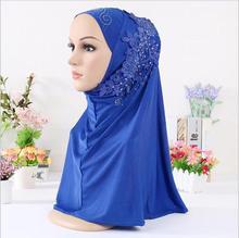 1pc Women Plain Instant Hijabs Muslim Bonnet Hoofddoek Diamonds Turbante One-Piece Headscarf Cap Ready To Wear
