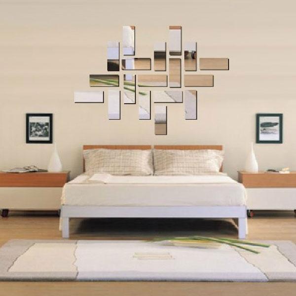 silver acrlico d rectngulo espejo efecto wall sticker decal decoracin del hogar del mosaico envo gratis