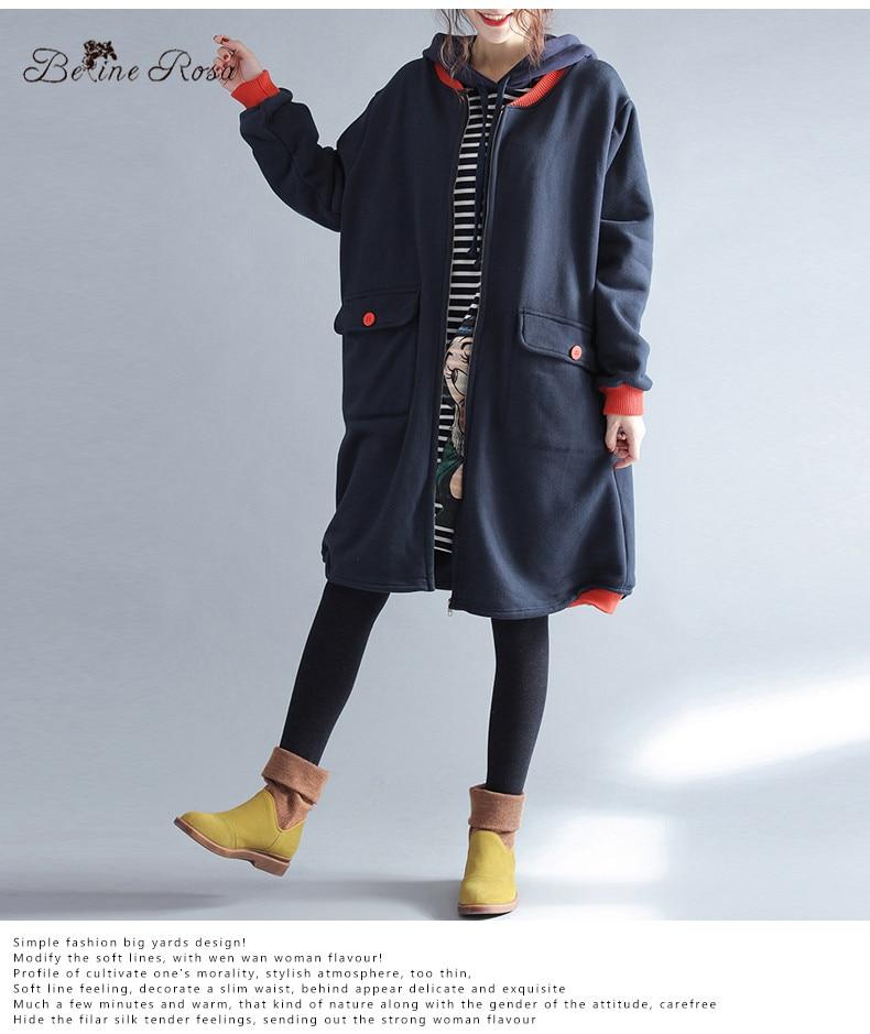 BelineRosa 2017 vrouwen Winterjassen Koreaanse Fashion Karakter Printing Fleece Voering Plus Size Kleding zonder Kap HS000407-in Hoodies en sweaters van Dames Kleding op AliExpress - 11.11_Dubbel 11Vrijgezellendag 3