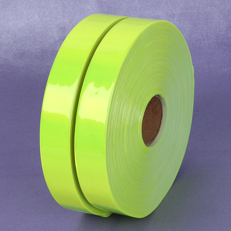 2.5cm*50M Fluorescent PVC Strip High Visibility Night Reflective Safety Warning Tape Sewing Material For Garment Bag