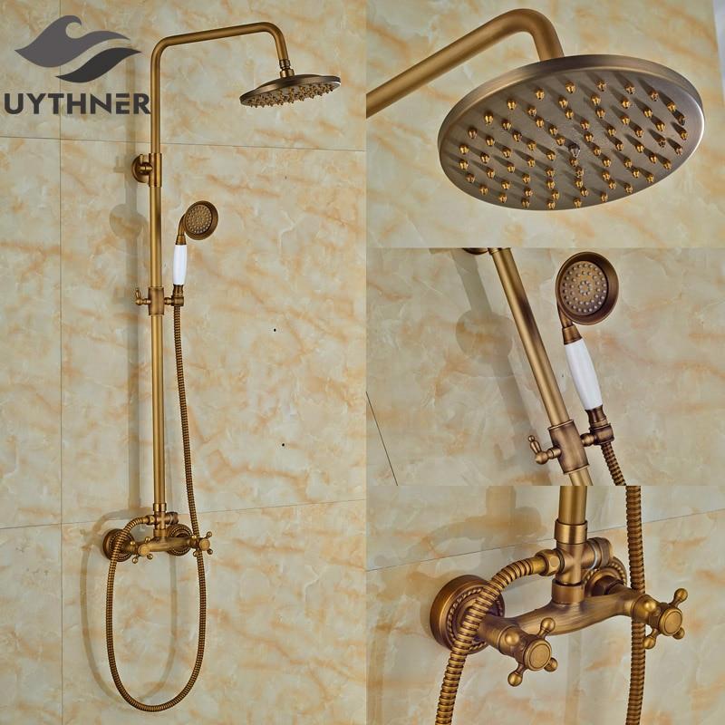 Newly Antique Brass Bathroom Shower Faucet Set 8 Rain Shower Mixer Tap Tub Faucet w/ Hand Shower Dual Handles dual cross handles antique brass bathroom tub faucet with hand held shower sprayer