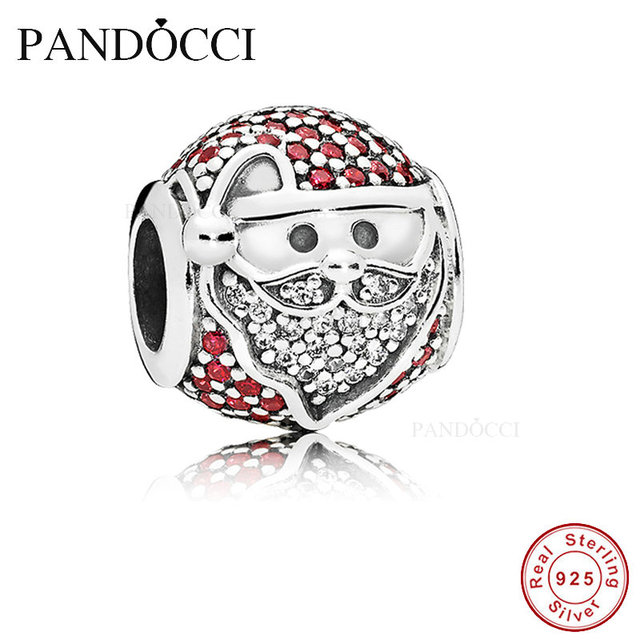 cfe6c1f28 Fits For Pandora Charms Bracelets Sparkling Jolly Santa Beads with CZ 100%  925 Sterling-Silver-Jewelry PANDOCCI